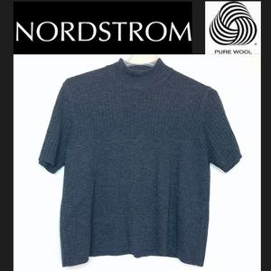 Nordstrom Gray Short Sleeve Top Blouse Wool XL. O